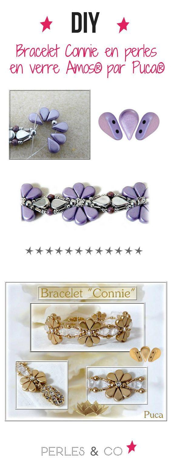 Réaliser le bracelet Connie par la créatrice Puca avec ses perles en verre Amos en forme de goutte et amusez-vous à changer de couleurs de perles pour en créer plusieurs et les offrir à vos proches !