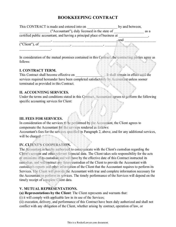 Sample Bookkeeping Contract Form Template (With images