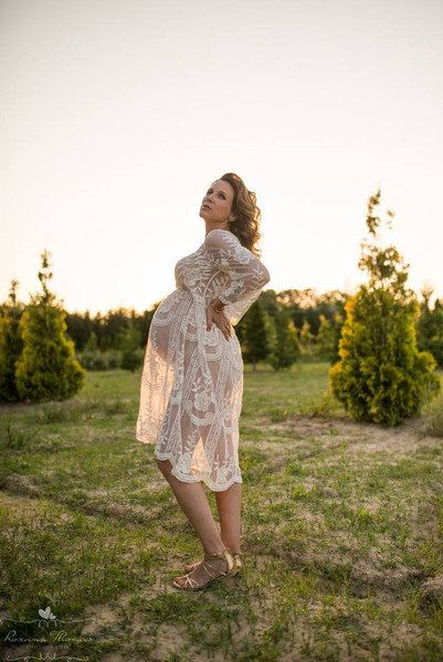 """The """"Jolie"""" Cream Knee Length Lace Dress - Sheer - Maternity - Pregnancy - Vintage - Ivory - Photography Prop - Gown - Photographer"""