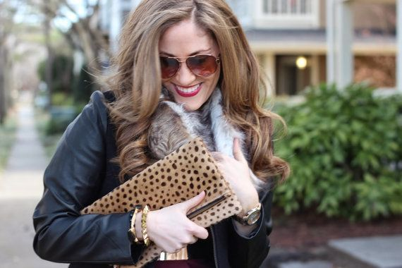 Leopard fold over clutch Leopard Clutch Leather by MimicDesign