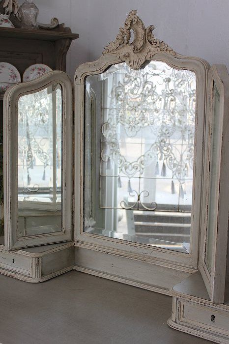 Antique Mirror for a vanity~Pretty detail~❥ - 326 Best M I R R O R S Images On Pinterest Mirrors, Mirror Mirror