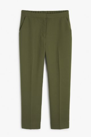 Monki Image 2 of Smart soft trousers in Khaki Green
