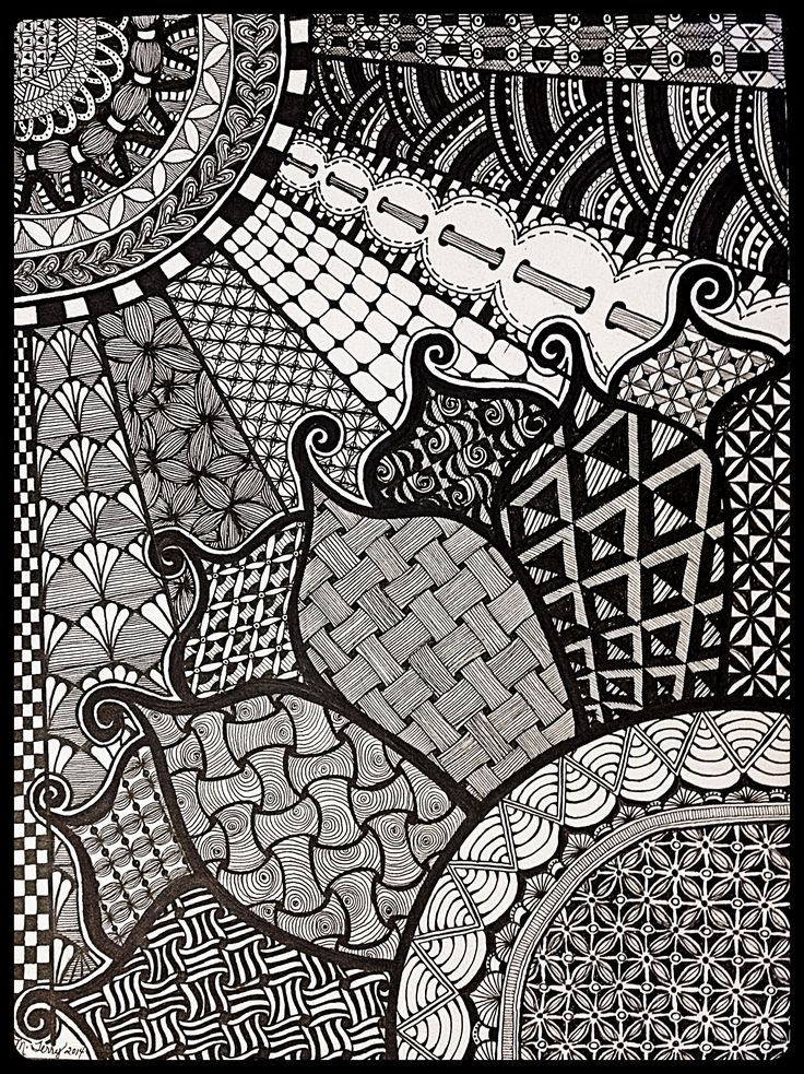 """""""Sunshine and daisies"""" zentangle art, hand drawn by Meredith Terry."""