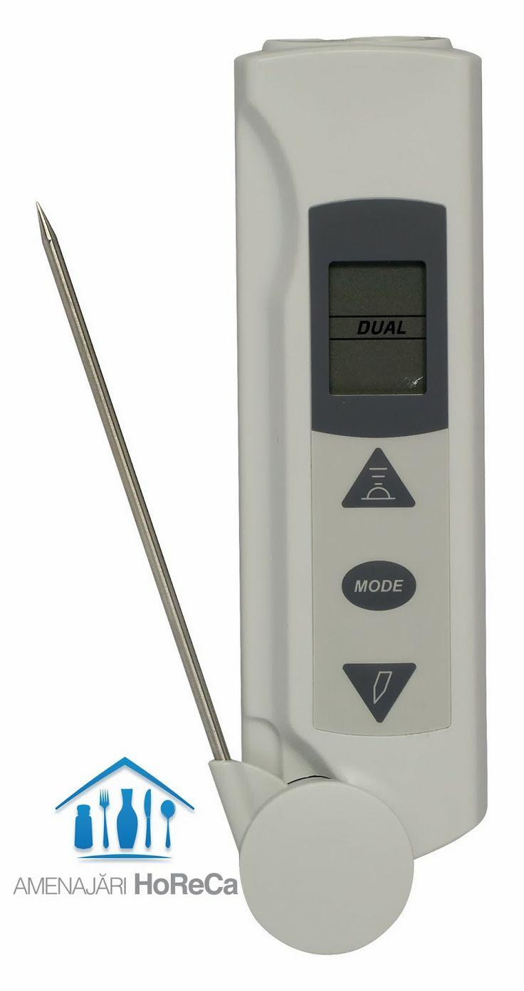 TERMOMETRU INFRAROSU CU SONDA   Produs profesional, accesorii bucatarie, import Olanda  Dimensiuni:  20x45x(H)165  mm; Scanare temperatura prin infrarosu sau cu ajutorul sondei;  Mod de blocare pentru monitorizarea continua a temperaturilor; Functie temperatura min/max; Sonda din otel inoxidabil; Gradare 0,1˚C;  Precizie ± 2% /2˚C; Baterii litiu CR2450 incluse; Unitate de masura °C sau °F;