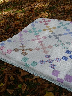 Single Irish Chain quilt all same fabrics in each block, this is what I want to do with my vintage fabrics