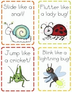 action cards with insects