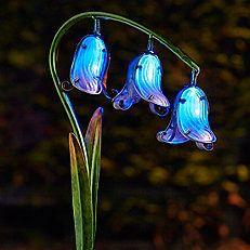 Pack Of 2 Solar Powered Glass Bluebell Flowers
