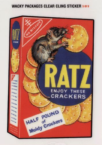 Wacky Packages All-New Series 2 Clear-Cling Stickers # 5 Ratz Crackers - Topps - 2005