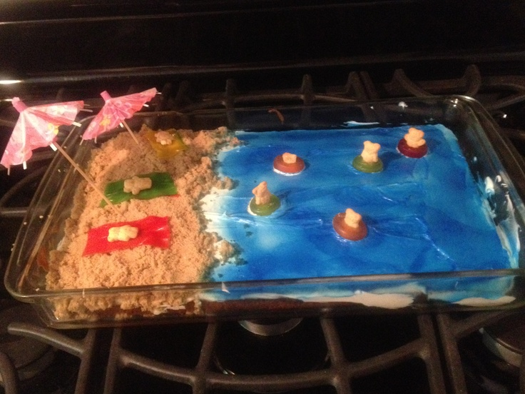 Easy Beach Cake: brown sugar for sand, Wilton color mist for water