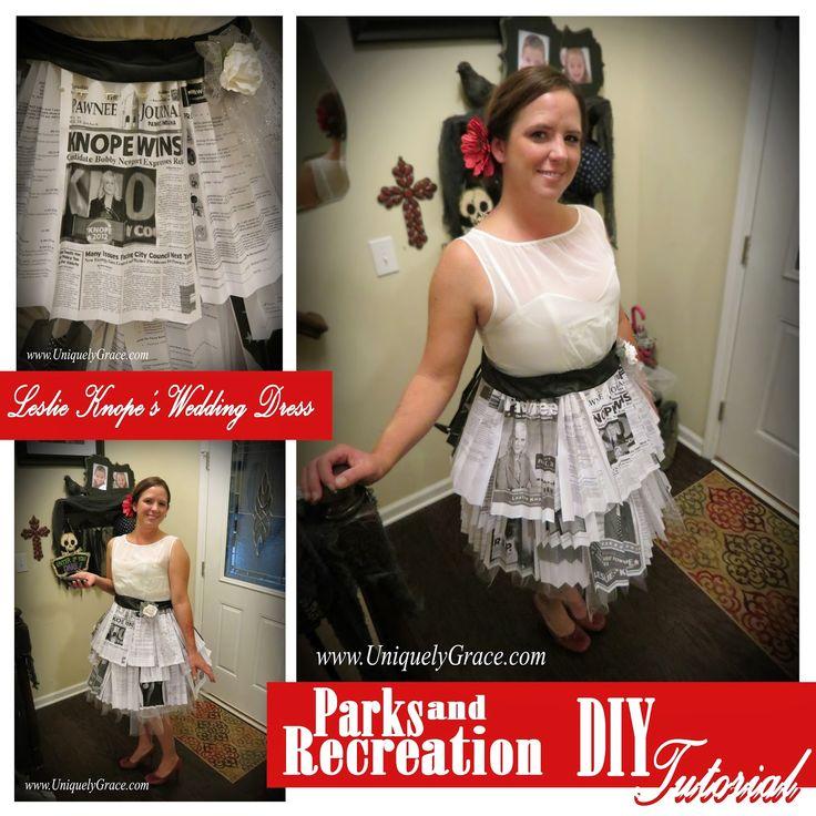 Parks and Recration Leslie Knope's Wedding Dress Costume Tutorial! - Blog Hop  #EpicblogHops #ParksandRec