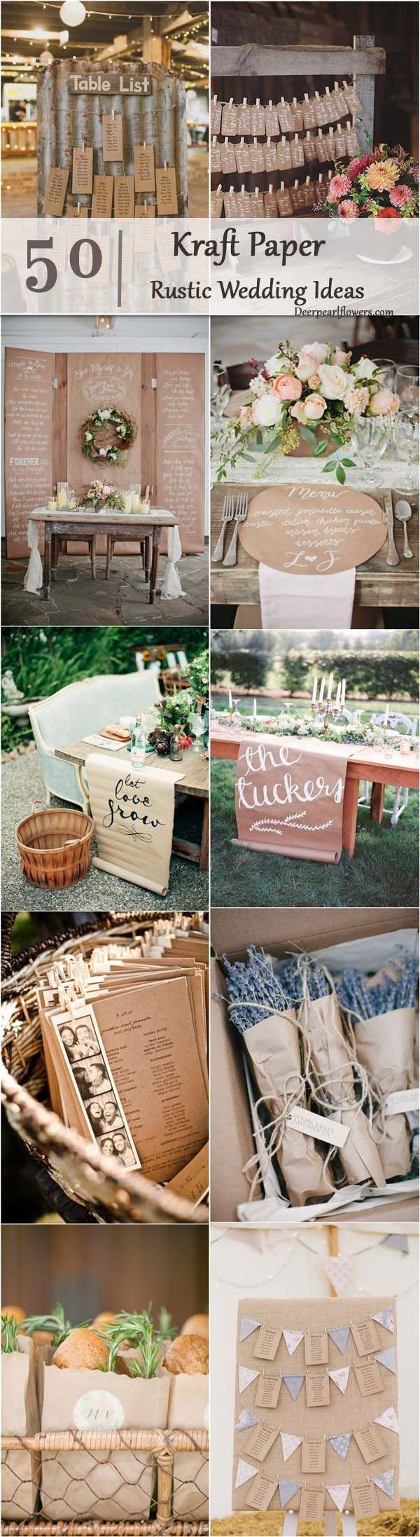 rustic country wedding ideas- kraft paper wedding theme details / http://www.deerpearlflowers.com/rustic-country-kraft-paper-wedding-ideas/