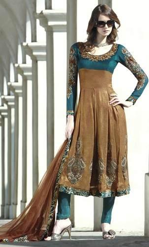 Embroidered Brown Anarkali Pattern Salwar Kameez + Free Shipping