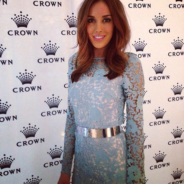 Rebecca Judd in a stunning blue lace dress