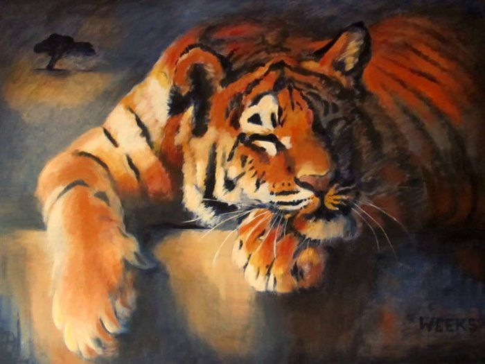 Sleeping Tiger. Acrylic on canvas 40' x 30' NFS  This is my favourite painting from the series ' Predator or Prey ' and I am probably going to keep it for myself!
