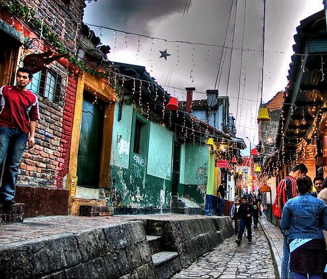 We walked through this street at La Candelaria, Bogota, Colombia