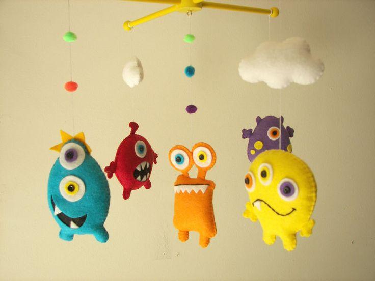 """Baby crib mobile, Monster mobile, Alien mobile, felt mobile, nursery mobile """"Scary Monster"""" by Feltnjoy on Etsy"""
