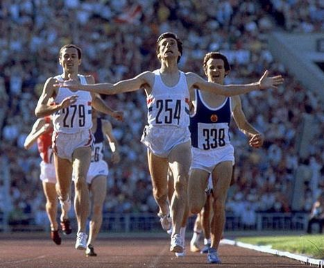The defining image of Coe is the expression on his face as he breaks the finishing line at the end of his Gold-winning 1500 metres at Moscow.