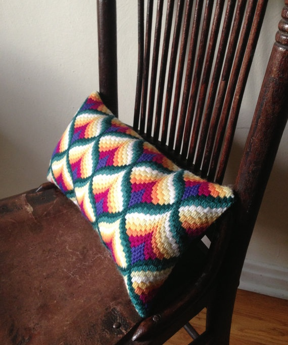 Absolutely Beautiful!  Bargello pillow by SoftPeaksNeedlework on Etsy