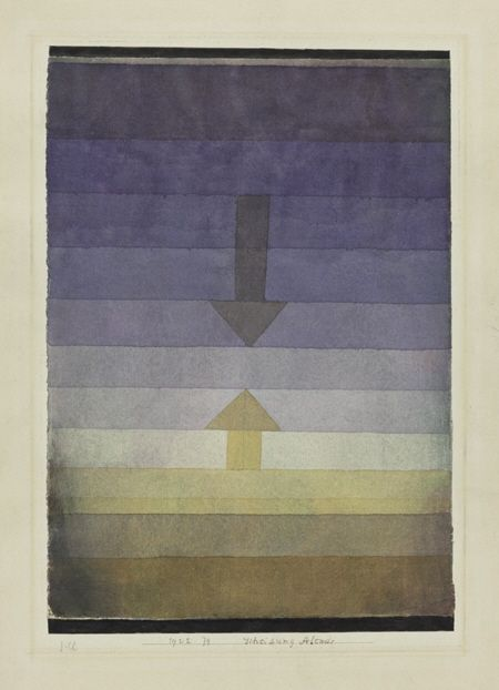 Paul Klee: Separation in the Evening 1922 watercolour and pencil on paper on cardboard 33,5 x 23,2 cm Zentrum Paul Klee, Bern, Schenkung Livia Klee