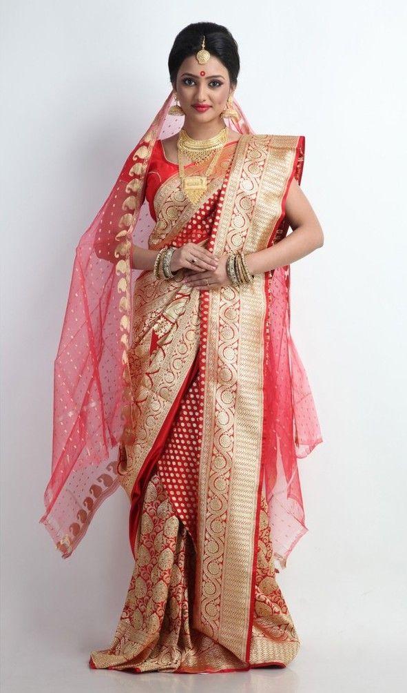 Beautiful Red and Gold Banarasi Silk Saree                                                                                                                                                                                 More