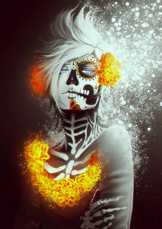 Prompto Day of the Dead ~ this is actually really neat!!