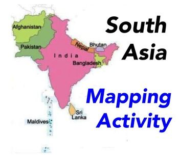 Map Activity – South Asia -    In this activity, students must locate and identify the countries (and capital cities if so desired) of South Asia.     Included in this package is a ready-to-copy blackline master map of South Asia along with a separate answer key.    This product can also easily be used as a test or quiz.    Preview file is available for download. $