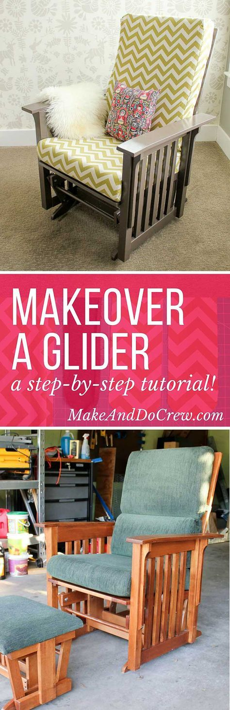 Super thorough step-by-step tutorial on how to recover a glider chair for a baby's nursery. Instructions on sewing replacement slipcovers and painting the chair. Click to learn how to DIY your own glider makeover. | MakeAndDoCrew.com