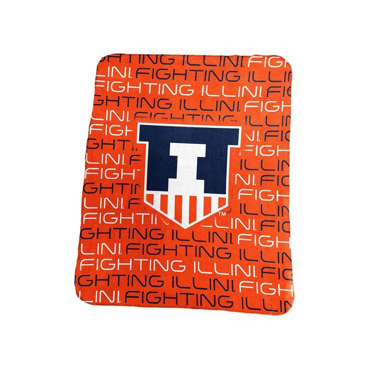 Logo Brand Illinois Fighting Illini Classic Fleece Blanket, Orange