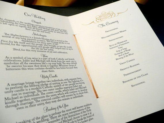 Gold Wedding Program / Jewish and Catholic by PinkOrchidInvites