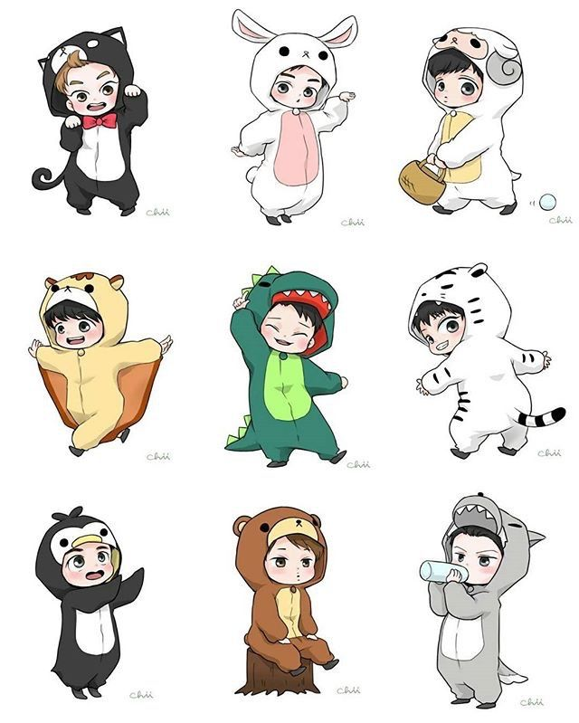 EXO wearing cute onesies ❤️ Xiumin As A Kitty Killed Me  ~ Credits to the maker of this cute exo fanart ~