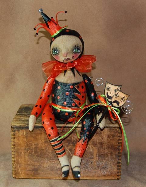 Outside the Box Primitives: HALLOWEEN HARLEQUINprimitive doll jester harlequin halloween SOLD! $207