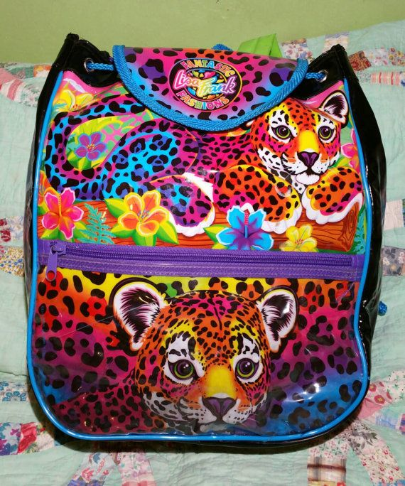 90s Lisa Frank Backpack PVC Hunter Leopard Cub by SlimeWarpVintage