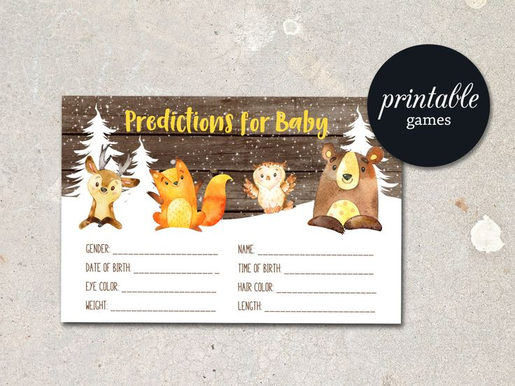 Baby Prediction Card Woodland Baby Shower Predictions For baby, Winter Baby Shower Games Printable Predictions for Baby, Boy or Girl Shower - pinned by pin4etsy.com