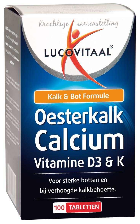 Lucovitaal Voedingssupplementen Oesterkalk Calcium Vitamine D3 & K Tabletten Kalk & Bot Formule 100Tabl  Lucovitaal Oesterkalk Calcium Vitamine D3 & K Kalk & Bot Formule. Oesterkalk Calcium draagt bij aan de instandhouding van sterke botten. Het bevat een combinatie van o.a. Calcium Vitamine D3 Vitamine K en Mangaan. Deze ingrediënten spelen een rol bij de botaanmaak. Het mineraal Calcium (kalk) speelt een rol bij de botaanmaak en draagt bij aan de instandhouding van sterke botten. Calcium…