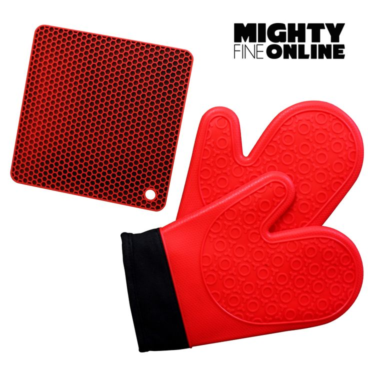 Ultra Red Kitchen Silicon Gloves By Mighty Fine Online - Best for Cooking, Baking, Pot Holders, Heat Protection for Hands - Includes 2 Dark Blue Silicone Oven Mitts with soft cotton lined interior with new honeycomb design silicone heat resistant mat.