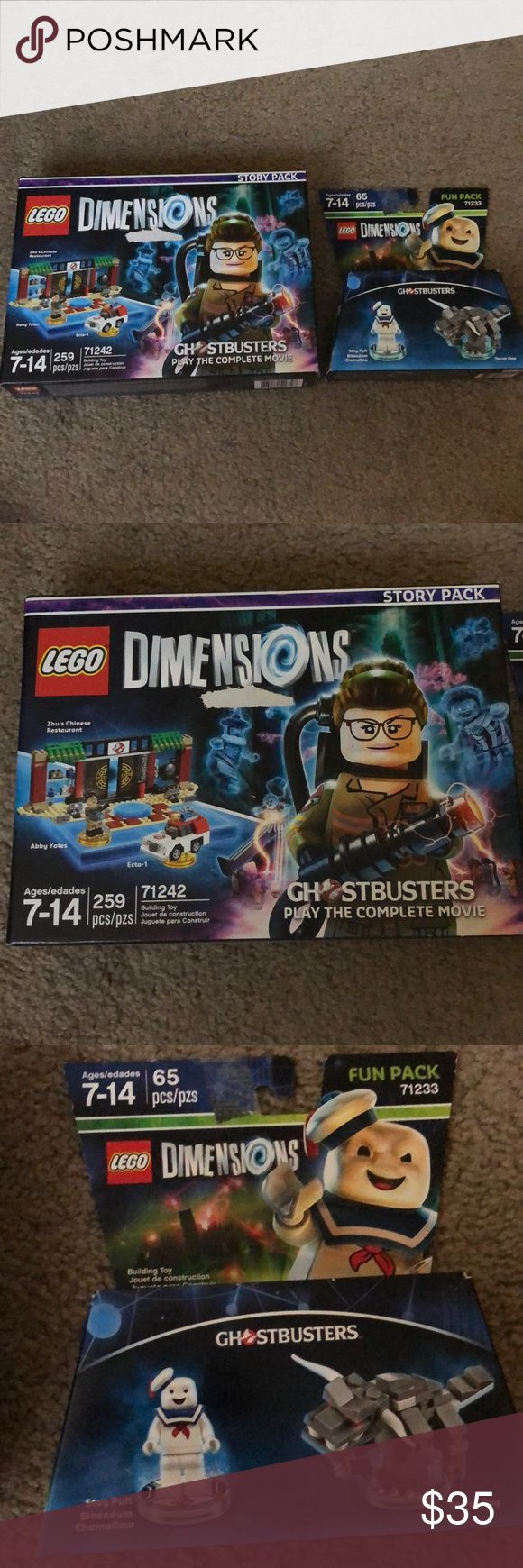 LEGO Dimensions New in box. never used. LEGO DIMENSIONS Ghostbusters story pack and fun pack. Fun pack is Stay Puft Bibendum Chamallow and Terror Dog. Ages 7-14. Lego Other