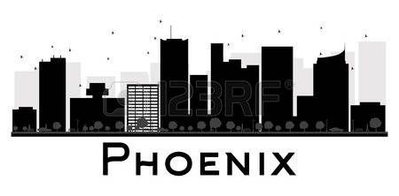 Horizonte de la ciudad de Phoenix negro y blanco de la silueta. Ilustración del vector. concepto de plano simple para la presentación turismo, bandera, cartel o página web. el concepto de viaje de negocios. Paisaje urbano con puntos de referencia