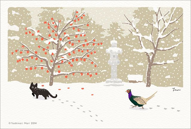 "It is an illustration of ""TABINEKO"" where I pictured a black cat doing a trip in Japan."