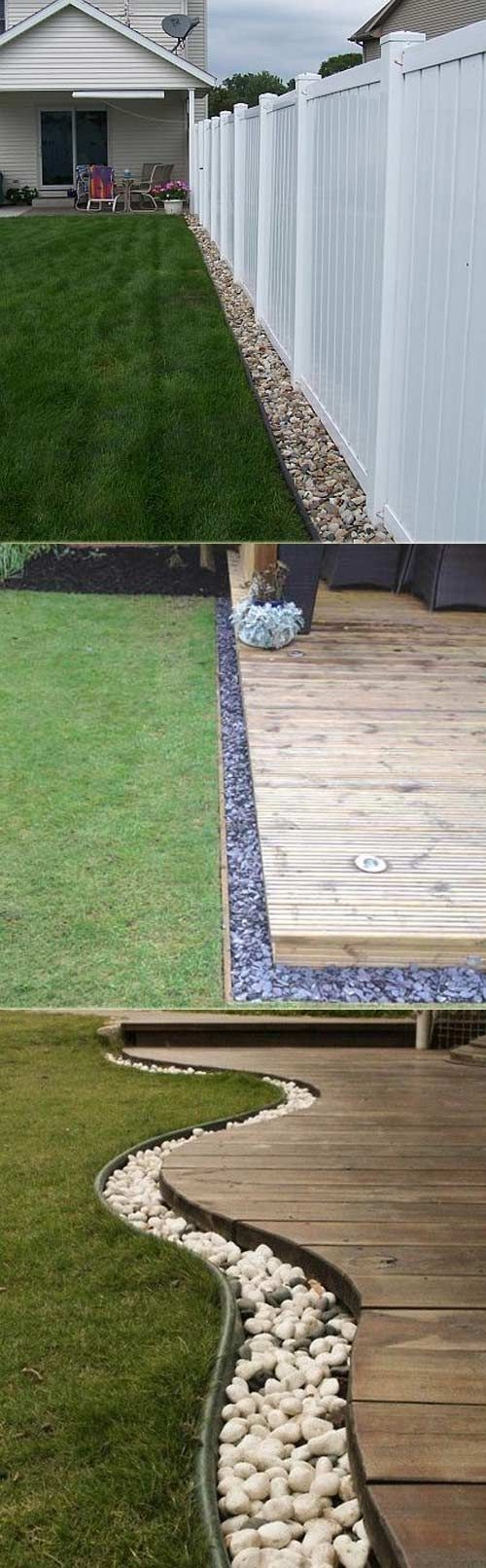 Rocks or Pebbles Used As Simple Clean Edging Of A Deck #LandscapeEdging
