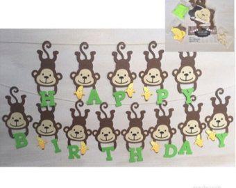 Banner de cumpleaños DIY Monkey, banner de cumpleaños de Safari, fiesta de cumpleaños de mono, banner de Banana, fiesta de cumpleaños temática de selva, fiesta temática de mono