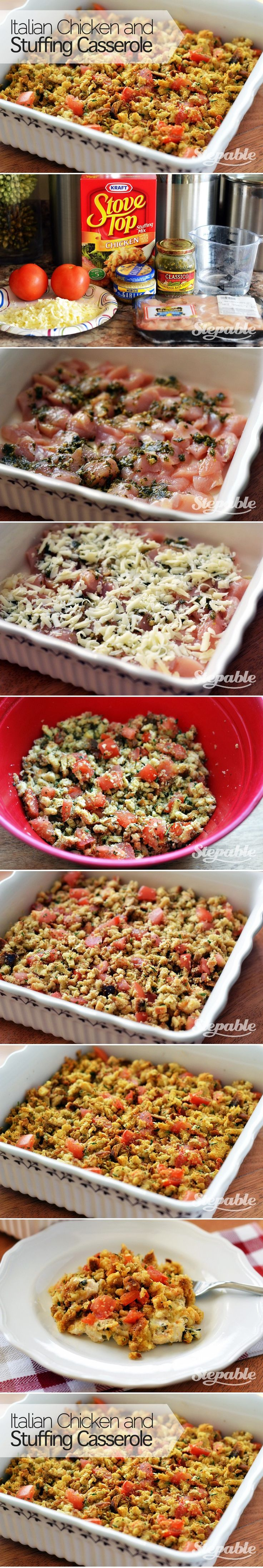 Italian Chicken and Stuffing Casserole in 40 minutes @Stepable #recipes