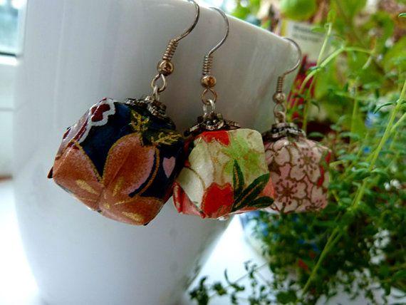 Origami Lantern Box earrings Dangle earrings Washi by MarysaArt