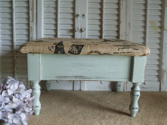Living Room Footstools The Dormy House Cottage Chic Stool Foot Stool Storage Bin by RusticPrairieCottage, $44 ...