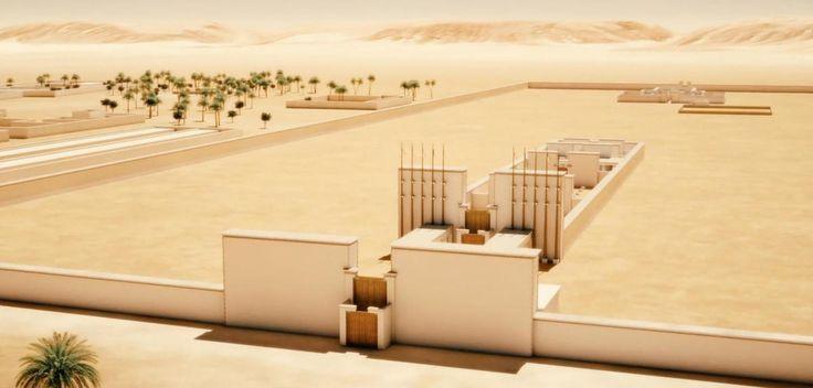 Le grand temple dédié au culte du disque solaire Aton, à Amarna. La capitale construite par Akhenaton a été entièrement détruite après sa mort. ©ARCHEOVISION