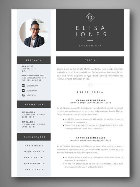 Descarga plantillas editables de Curriculum Vitae \u2013 CV visuales y