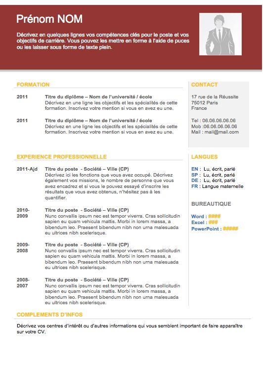Modèle de cv gratuit 2013