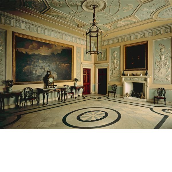the georgian entrance hall at newby hall in yorkshire robert adam style english country. Black Bedroom Furniture Sets. Home Design Ideas