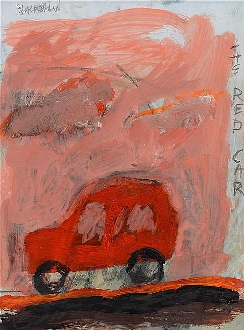 Basil Blackshaw - The Red Car oil on card signed top left & titled on right h:20.50 w:15.50 cm.