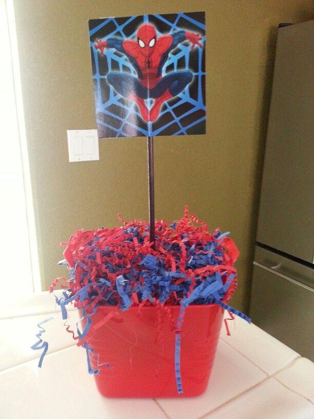 Spiderman Centerpiece Spiderman Party Pinterest