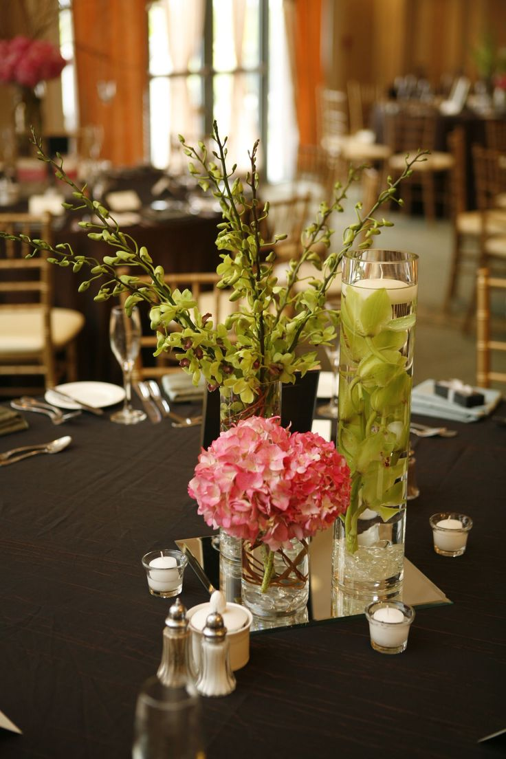 Elegant Trio Cylinder Vase Grouping Of Pink Hydrangea Green Cymbidium And Dendrobium Orchids